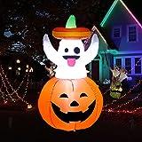 Uekars 4 FT Tall Halloween Inflatable Cute Ghost Grow Out from Pumpkin,Halloween Inflatables Outdoor Halloween Decorations wi