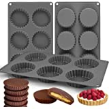 Palksky (3PCS) 6 Cup Silicone Chocolate Cookie Candy Mold/Fat Bombs Snack Baking Pan/Chocolate Almond Peanut Butter Cup Mold/