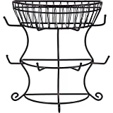 Gourmet Basics by Mikasa Countryside Mug Tree with Basket, Antique Black