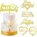 Kauayurk Happy Anniversary Cake Topper Decorations - 6Pcs Acrylic Wedding Anniversary Cake Topper Supplies - Gold Glitter Ann