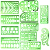 11 Piece Geometric Drawing Template Measuring Ruler, Transparent Green Plastic Ruler with Portable Plastic Bag for, for Study