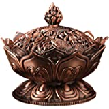 Lotus Shape Aromatherapy Incense Burner Holder Stove Censer Home Decoration Accessories Red Copper