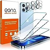 Amazon Brand – Eono【3枚セット】iPhone 13 Pro ガラスフィルム+【3枚セット】iPhone 13 Pro カメラフィルム【貼り付けやすい/硬度9H/高透過率/3Dタッチ対応/気泡防止】アイフォン13 Pro ガラスフィ