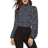 Romwe Women's Elegant Printed Stand Collar Long Sleeve Workwear Blouse Top Shirts
