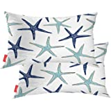 BaoNews Coastal Nautical Pillow Covers, Coastal Nautical Starfish Repeat Pattern Navy Blue Lumbar 12 x 20 Inches Decorative T