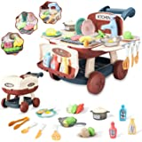 Ainek Kids Kitchen Playset - Can Transform as Shopping Cart - Pretend Cooking with Lights & Music, Toy Oven Cookware Sink, Co