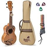 Hola! Music HM-121TT+ Laser Engraved Mahogany Soprano Ukulele Bundle with Aquila Strings, Padded Gig Bag, Strap and Picks - T