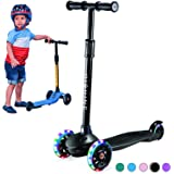 PRINIC Kick Scooter for Kids Boys Girls, 3 Wheel Scooter for Toddler for 2-5 Years Old, Adjustable Height, Light Up Flashing
