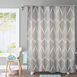 JRing Shower Curtain Polyester Fabric Mildew Resistant Machine Washable with 12 Hooks 72x72 Inch (Grey)