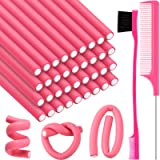 36 Pieces Flexible Foam Curling Rods Twist Foam Hair Roller Bendy Rollers Soft No Heat Hair Rollers and Hair Edge Brush Rat T
