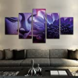 Purple Buddha Paintings 5 Pieces Canvas Art Wall Decor Prints Artwork for Living Room Framed,Small Size 100cmX55cm,Ready to H