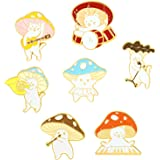 Gillna Cute Enamel Brooch Pins Sets Cartoon Mushroom Brooches Cat Frog Hedgehog Animal Plant Brooch Pin for Backpack Clothes