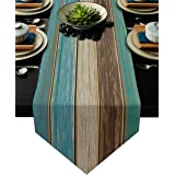 Teal Rustic Table Runner-Cotton linen-Long 13 x 72 inche Dresser Scarves,Farmhouse Tablerunner for Kitchen Coffee/Dining/Sofa