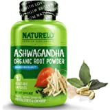 NATURELO Ashwagandha Organic Root Powder - Natural Herbs Supplement - Best for Mental Stress Relief, Mood Enhancer, Thyroid S