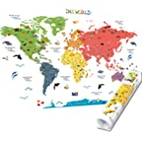 HomeEvolution Kids Educational Removable World Map Peel and Stick Large Wall Decals Stickers for Children Nursery Bedroom Liv