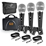 Pyle 3 Piece Professional Dynamic Microphone Kit Cardioid Unidirectional Vocal Handheld MIC with Hard Carry Case & Bag, Holde