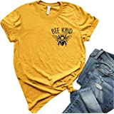 YEMOCILE Womens Bee Kind T Shirt Casual Cute Short Sleeve O-Neck Graphic T-Shirt Tops Tees Soft Tops