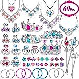 Joinart 60 Pcs Princess Jewelry Toys, Girl Toys Princess Pretend Play Set Girl Jewelry Toys Crown Wand Necklace Bracelet Ring