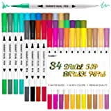 Tanmit Dual Brush Marker Pens for Coloring, Dual Tip Markers Colored Bullet Journal Pen Great for Adult Kids Coloring Books,