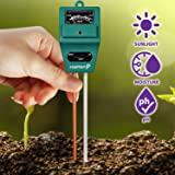 Fosmon Soil pH Tester - 3-in-1 Measure Soil pH Level, Moisture Content, Light Amount Soil Test Kit for Indoor Outdoor Plants,