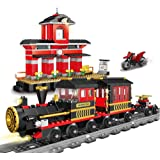 JIETENGFEI Building Blocks Toys 583 Pieces Classic Train Set with Station Construction Brick Education Learning Toys for Kids
