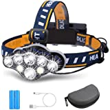 Rechargeable Headlamp, TAZLER 8 LED Head lamp Flashlight 13000 Lumens 8 Modes with USB Cable 2 Batteries, Waterproof LED Head