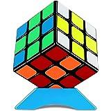 QiYi Warrior Magic Cube 魔方 (日本語6面完成攻略書・専用スタンド付き) 3x3x3 競技専用キューブ 回転スムーズ 立体パズル 世界基準配色 ストレス解消 脳トレ ポップ防止 (ステッカー 魔方)