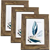Scholar tree Wooden Picture Frame Wooden Photo Frame for Wall or Tabletop with Mat, Yellow and Brown, 5x7 inches 3P