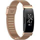 TERSELY Band Strap for Fitbit Inspire 2 & Inspire 1 / HR, Luxury Metal Stainless Steel Adjustable Replacement Bands Fitness S