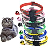 Set of 8 Pcs, 6 Pcs Cat Collars with Bell and 2 Pcs Pet ID Tag Boxes, Breakaway Cat Collar with Bell, Reflective Nylon Cat Co