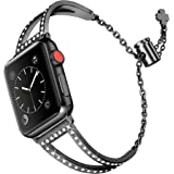 MOTYYA Bling Bands Compatible with Apple Watch Band 38mm 40mm iWatch SE Series 6/5/4/3/2/1, Women Dressy Metal Jewelry Bracel