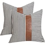 Farmhouse Decoration Pillow Covers 18x18 inch Set of 2 Modern Faux Leather and Ticking Stripe Pillow Covers Boho Indoor Outdo