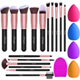 BESTOPE 16Pcs Makeup Brushes Set, 4Pcs Beauty Blender Sponge Set and 1 Brush Cleaner, Premium Synthetic Foundation Brushes Bl