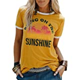 Qrupoad Womens Bring On The Sunshine Letter T-Shirt Summer Causal Graphic Tees