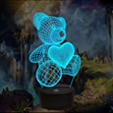 Bear Gifts 3D Night Light, Optical Illusion Teddy Heart Lamp Cute Nightlight Remote Control 16 Colors Changing Bedroom Decor