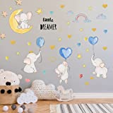 Colorful Balloon Flying Animals Wall Decals, Cute Elephant Love Hearts and Stars Wall Stickers, DILIBRA Removable Peel and St