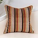 Yangest Orange Striped Velvet Throw Pillow Cover Multicolor Textured Boho Cushion Case Modern Zippered Pillowcase for Sofa Co