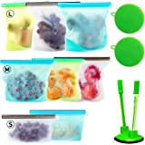 Silicone Bags Reusable Silicone Food Bag (8 Pack) Airtight Seal Food Preservation Bag/Food Grade/Versatile Silicone Bags for