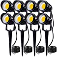 SUNVIE 12W LED Landscape Low Voltage (AC/DC 12V) Waterproof Garden Pathway Lights Super Warm White (900LM) Walls Trees Flags