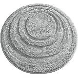 mDesign Round Microfiber Non-Slip Bathroom Mat/Rug for Bathroom Vanity Bathtub/Shower Dorm Room - 24 Diameter Gray