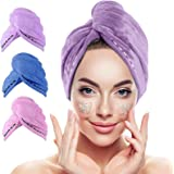 Hair Towel Wrap,UMUM 3 Pack Magic Instant Dry Hair Towel,Microfiber Hair Towel with Button,Quick Dry Hair Towel for Women,Hai