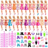 Barwa 15 Clothes + 15 PCS Shoes + 15 Hangers + 15 Bags for Barbie Dolls (Randomly Styles)