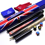 """CUESOUL 57"""" Handcraft 3/4 Jointed Ebony Snooker Cue with Union Jack Flag Design"""