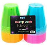 EDI Hard Plastic Cups - 9 Oz. Party Cups Beverage Tumblers in Assorted Neon Colors 50 Count