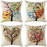 Woaboy Set of 4 Cotten Linen Pillow Cover Colorful Different Shaped Trees Printed Pillowcase Square Decorative Cushion Cover