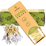 Storetite Organics Organic Bamboo Cotton Swabs - Biodegradable Buds for Ear Cleaning, Makeup Application, Pet Care, First Aid