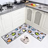 "Carvapet 2 Piece Non-Slip Kitchen Mat Rubber Backing Doormat Runner Rug Set, Pots and Pans Design (Grey 15""x47""+15""x23"")"