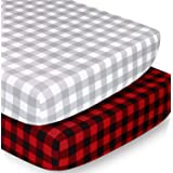 The Peanutshell Crib Sheet Set for Baby Boys or Girls | Red and Grey Buffalo Plaid | 2 Pack Set