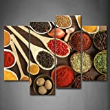 Framed Colorful Spice Food Canvas Print Wall Art Painting Condiment Picture for Home Office Decor
