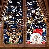 CCINEE 6 Sheets 300 Pcs Christmas Window Clings, Snowflake Reindeer Santa Claus Window Stickers for Christmas Window Descorat